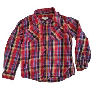 Cherokee Cotton Plaid Button Down Top Red M